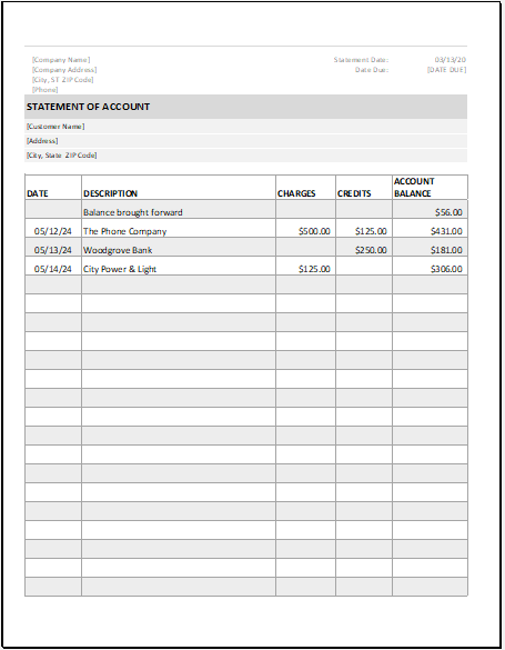 Statement of Account Template for Excel