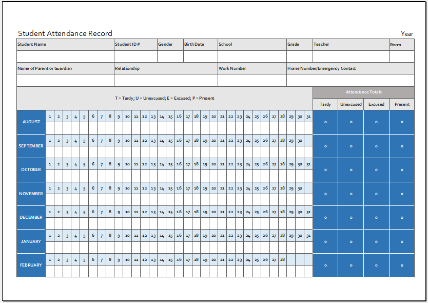 Student Attendance Record Template For Excel Word Excel Templates