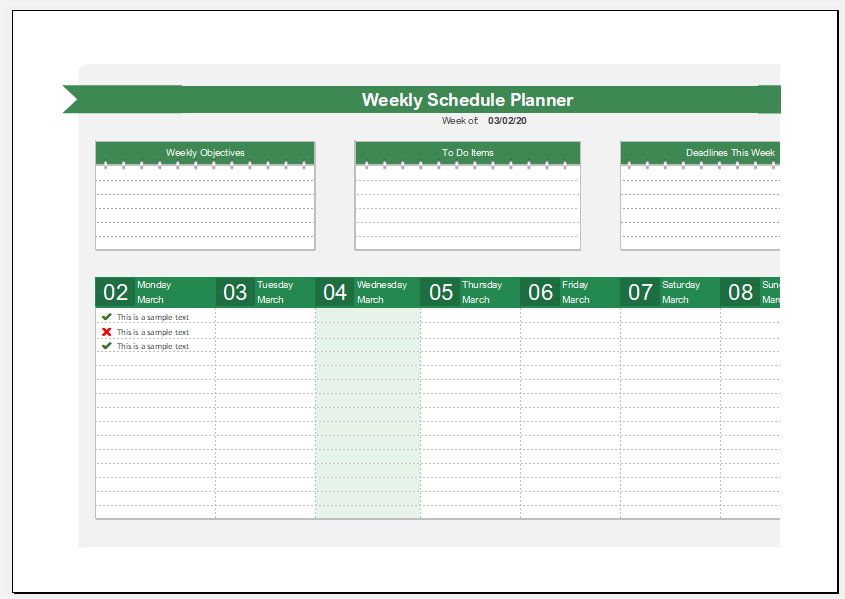 Weekly Activity and Schedule Planner Template