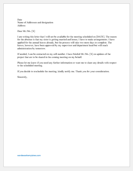 Absence excuse letter for meeting