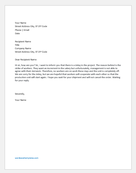 Apology Letter To Client from www.wordexceltemplates.com