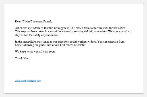 Business Closing Announcement Statement for COVID-19