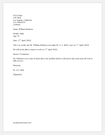 Return To Work Letter From Doctor from www.wordexceltemplates.com