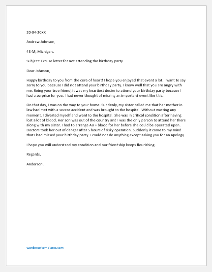 excuse letter for not attending an