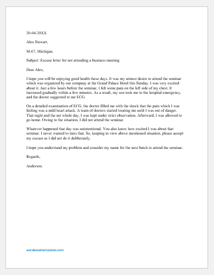 Excuse letter for not attending a business meeting