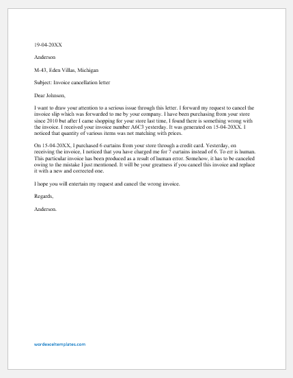 Invoice Cancellation Letter Template
