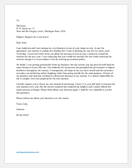 Rent freeze request letter for the new contract due to pandemic