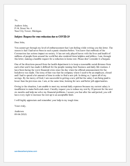 Sample Letter To Rent A House from www.wordexceltemplates.com