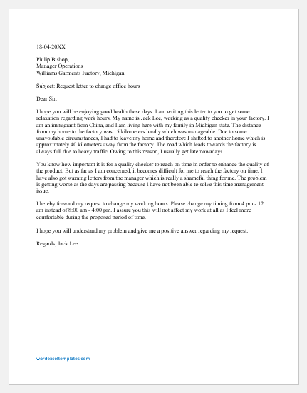 Request Letter to Boss to Reduce Working Hours
