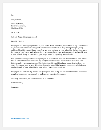 School Transfer Request Letter by Parents