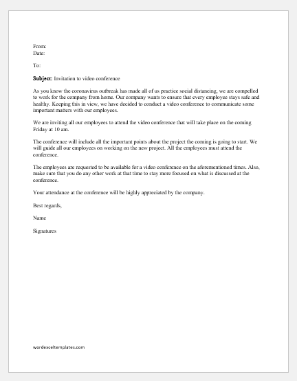 Video Conference Invitation Letter To Staff Word Excel Templates