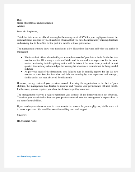 Warning Letter to Employee for Lack of Responsibility