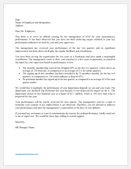 Warning Letter to Employee for Poor Performance