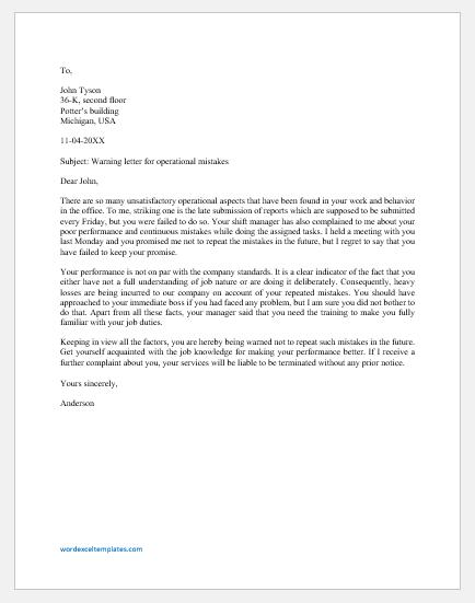 Warning letter for operational mistake