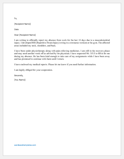 Absence Excuse Letter due to Musculoskeletal Injuries