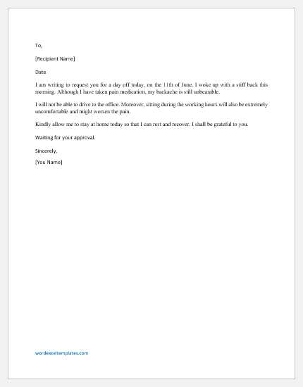 Absence Excuse Letter for Backache