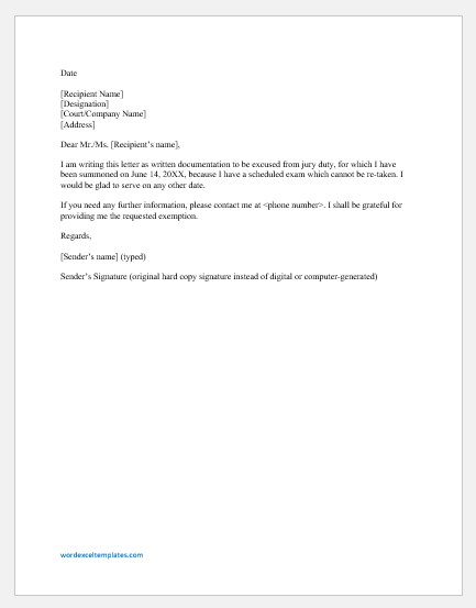 Absence excuse letter for jury obligation