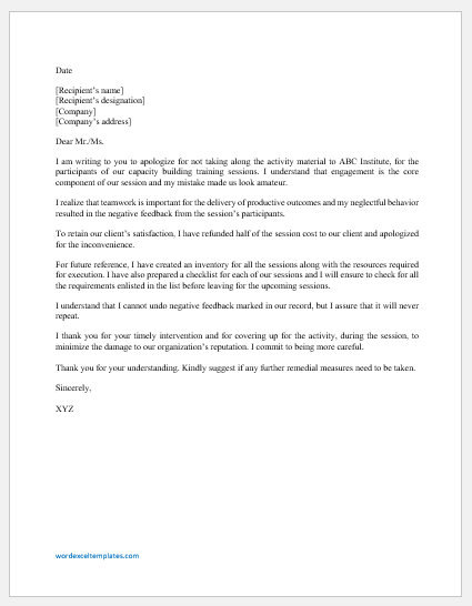 Apology letter for mistake at work