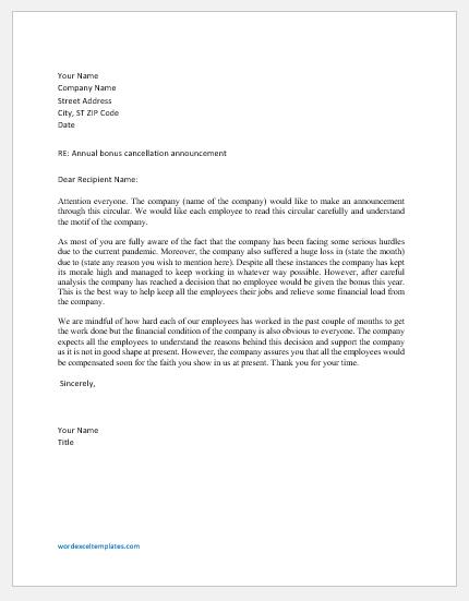 Bonus Cancellation Letter to Employees