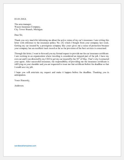 Car Insurance Certificate Request Letter