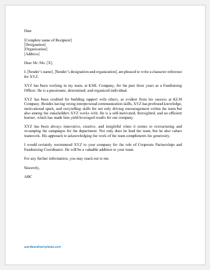 Character Reference Letter for an Employee