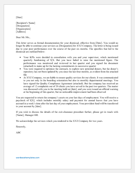 Dismissal Letter for Poor Performance
