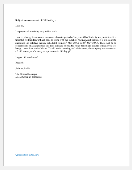 Eid holiday announcement email to employees