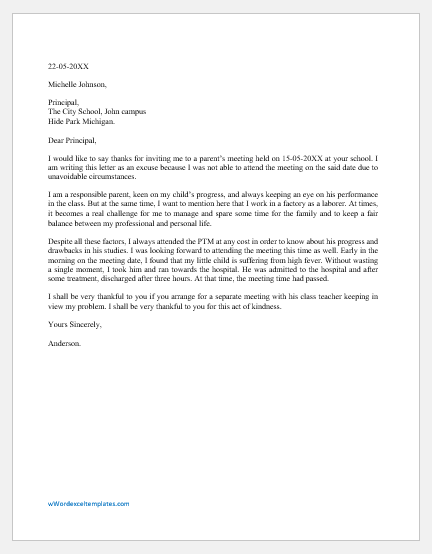 Excuse Letter for Missing Parents Meeting in School