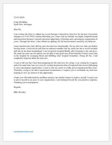 Excuse Letter for Missing the Interview