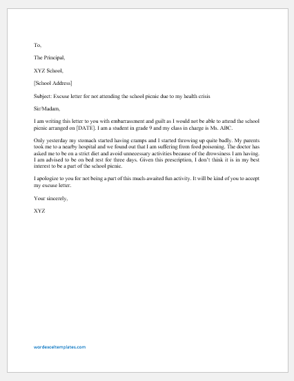 Excuse Letter for not Attending School Picnic