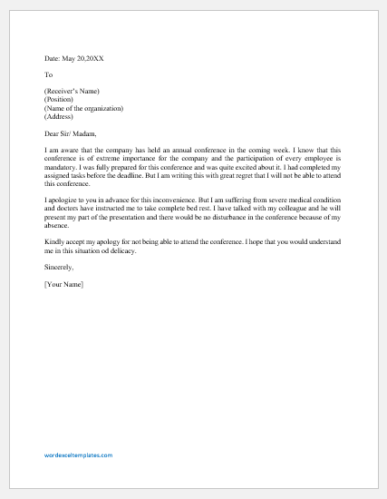 Excuse Letter for not Attending a Conference