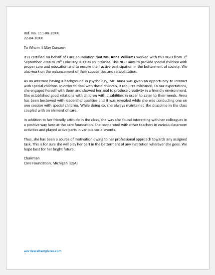 Experience Letter Template for Internship