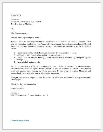 Job completion proof letter