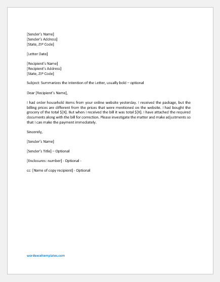 Letter Requesting Bill Adjustment