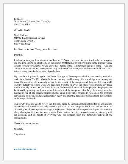 Letter of Concern for Poor Management Decisions