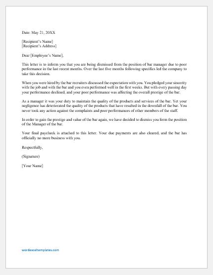 Letter of Dismissal of Bar Manager for Poor Performance