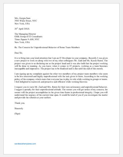 Letter of concern for unprofessional behavior