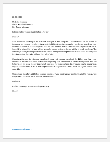 Letter requesting bill of sale for car