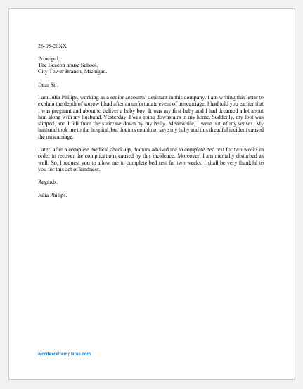 Miscarriage Letter to Employer