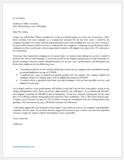 Pay Review Letter