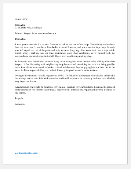 Request Letter to Reduce Shop Rent