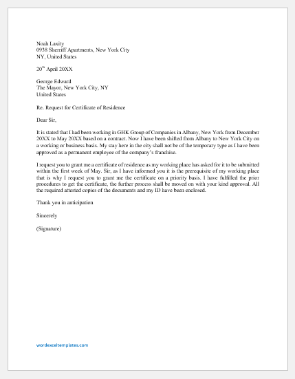 Sample Proof Of Residency Letter From Landlord from www.wordexceltemplates.com