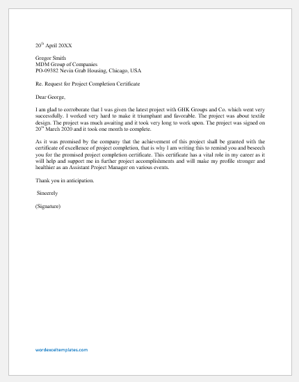 Request letter for project completion certificate