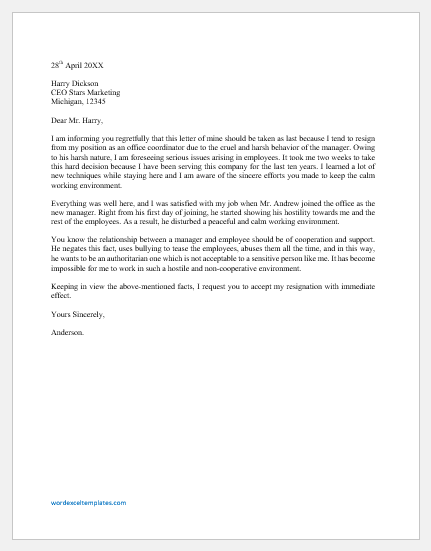 Resignation Letter due to Manager's Cruel Behavior