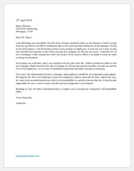 Resignation Letter due to Manager's Cruel Behavior