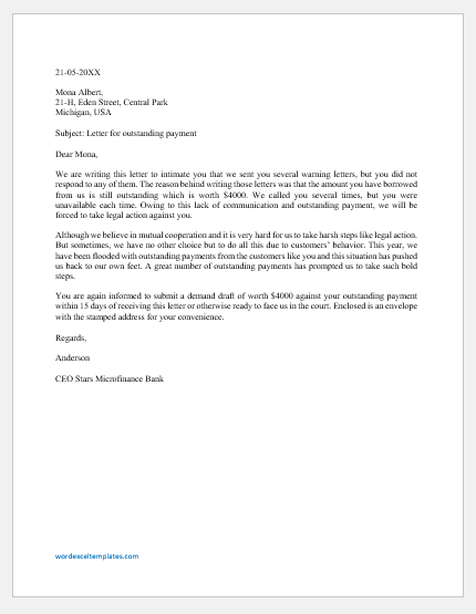 Strong Letter for Outstanding Payment