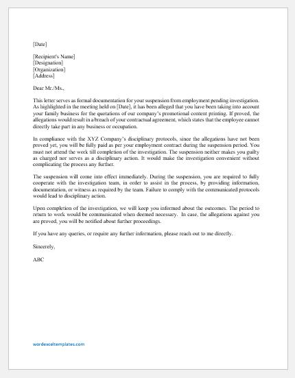 Suspension Letter Pending Investigation