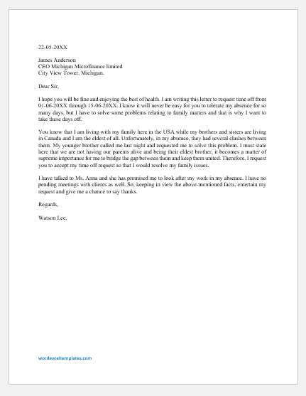 Time off request letter