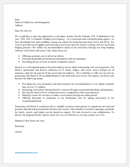 Travel agency partnership proposal letter