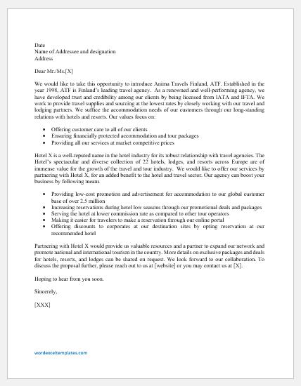 Travel agency partnership proposal letter